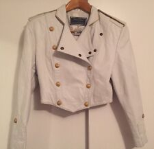 North Beach Leather Vintage White Military Jacket 5/6 1980s 80s