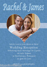 Photo in Heart Wedding Abroad Wedding Reception Invitations x 12 with env