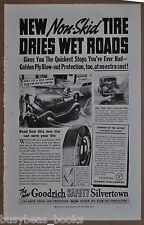 1938 GOODRICH TIRE advertisement, Goodrich Silvertown tire, skidding auto