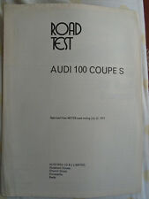Audi 100 Coupe S Motor road text reprint brochure Jul 1972