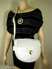 Vintage YSL Yves Saint Laurent White Grained Leather Saddle Shoulder Bag