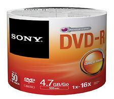 50 Sony DVD-R 16X Silver Logo Branded DVD-R DVDR Blank Media Disc 4.7GB