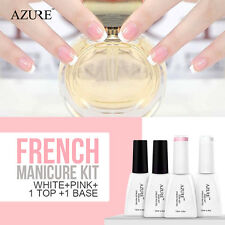 Azure 4 Colors French Pink White UV Soak Off Nail Gel Polish Manicure Art Kit