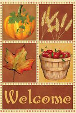 Signs Of The Season Autumn Leaves  Pumpkins Apples  Fall Garden Flag