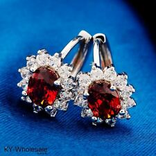 Brand Trend Real Platinum Plated Red Cubic Zircon Classic Hoop Earrings H0241