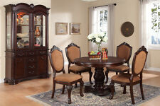 Poundex F1391 Dark Cherry Round Dining Table And Side Chairs 5 Pc Set
