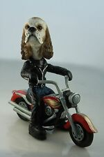 COCKER SPANIEL BROWN & WHT  ON A MOTORCYCLE(SEE ALL BREEDS  BODIES @ EBAY STORE