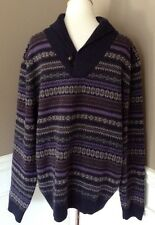 Brooks Brothers L Scottish Lambs Wool Long Sleeve Collared Multicolored Sweater