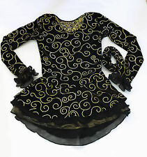 CLEARANCE New SKATING DRESS Elite Expression 1285 Black Gold 4/6 CXS