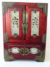 Vintage Oriental Jewelry Box Carved White Jade Doors and Etched Brass Hinges