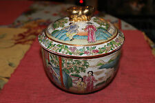 Antique Chinese Famille Rose Lidded Bowl-Signed-Men Women Flowers-Flute-Colorful