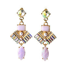 ELEGANT ANTHROPOLOGIE WHITE PEARL OPAL PINK DROP DANGLE EARRINGS NEW