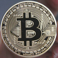 BITCOIN - NEW UK STOCK - 1 Oz 4ct GOLD Plated Bullion Coin - BTC silver platinum