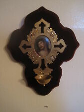 Antique Victorian Holy Water Font Brass With Porcelain Plaque Of Our Lord