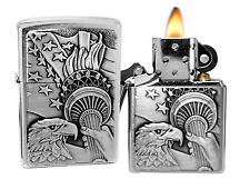Zippo Lighter 20895 Something Patriotic Brushed Chrome Windproof Classic NEW