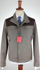 NWT ISAIA wool storm BOMBER JACKET grisaille brown SS Luxury Italy eu 48 us S