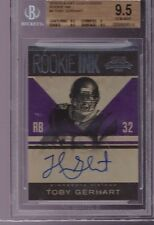 2010 Contenders Rookie Ink Toby Gerhart On Card Auto Rc BGS 9.5 with a 10 Auto
