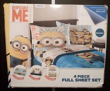 Despicable Me Minion Made 4 Piece Full Sheet Set Fitted Play Sheet Pillowcases z