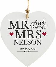 Personalised Mr & Mrs Wooden Heart Decoration - Wedding Gift - Free Delivery