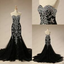 Mermaid Long Beaded Pageant Evening Formal Prom Dress Black Party Wedding Gown