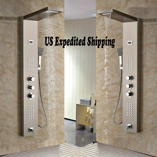 Thermostatic Brushed Nickel Shower Panel Faucet  Tub Mixer Body Jets Hand Unit