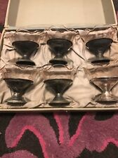 Vintage 6 Silver Plated And Pink Depression Etched Sherbet/Ice Cream Dishes
