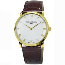 Frederique Constant Slim Line Gold Tone 39mm Leather Strap Men's Watch 200RS5S35