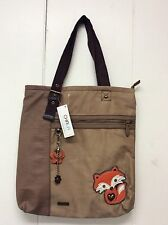 Chala Zip Tote Shoulder Bag Handbag Faux Leather & Suede Brown Fox Charm New