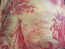NEW TOILE DE JOUY FRENCH RED PRINT COTTON FABRIC CUSHIONS SOFT FURNISHINGS