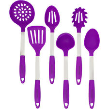 Purple Cooking Utensil Set - Steel & Silicone Heat Resistant Kitchen Ladle Spoon