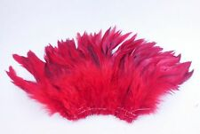 "100+ (16g) BRIGHT RED BRONZE ROOSTER SCHLAPPEN CRAFT MILLINERY FEATHER 6""-8""L"