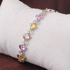 Lovely White Gold Filled Topaz Pink Sapphire Fish Crystal Bracelet Bangle Cuff