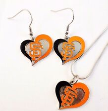 Aminco MLB San Francisco Giants Heart Necklace and Earring Set