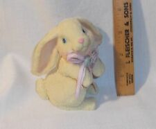 "Easter Bunny rabbit figurine creamy white resin 4"" tall rough texture"