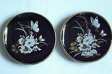 2 x Handmade in Cyprus Black & 24k Gold Display Plates  Floral Butterfly Design.