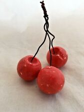 Anti-Italy Italian Alabaster Marble Hand Carved Stone Fruit Large Red Cherries