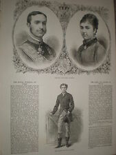 King Alfonso XII of Spain Queen Mercedes 1878 prints ref Y1