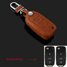 Brown Leather Remote Key Fob Holder Cover Case 3BTN for Jetta Golf Polo Tiguan