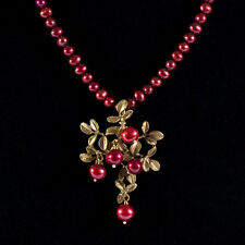 Michael Michaud - Cranberry Pendant on Pearls - Silver Seasons Jewelry