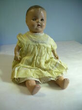 "LOVELY Antique Composition Doll Baby 18"" Original Clothes TIN Sleep Eyes"