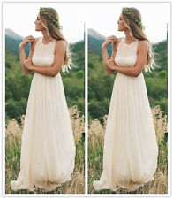 Bohemian Halter Chiffon Bridal Gown Romantic Ivory Beach Wedding Dress 6 8 10 12
