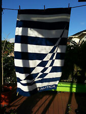 NAUTICA BEACH TOWEL BLUE WHITE STRIPED SPINNAKER SAILING NWT
