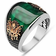 925 New design TURKISH OTTOMAN Agate EMERALD Men Ring We Have All Sizes fast shp