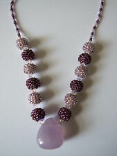 Amethyst Gemstone Statement Necklace Purple & Lilac Beaded Beads AB Crystals