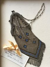 Antique Art Deco 1920'S Whiting & Davis Mesh & Enamel Purse Vintage Bag