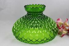 """Green Diamond Quilted Glass Student Lamp Shade Aladdin, Rayo, Coleman 10"""" Fitter"""