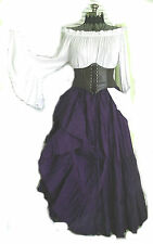 PURPLE RENAISSANCE DRESS CHEMISE BROWN CORSET SKIRT TOP STEAMPUNK PIRATE WENCH