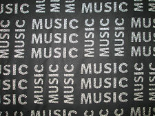 MUSIC WORDS NOTES BLACK  WHITE FUNKY COTTON FABRIC FQ