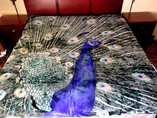 NEW 5 POUNDS SOFT QUEEN KOREAN MINK BLANKET Plush Throw PEACOCK BIRD