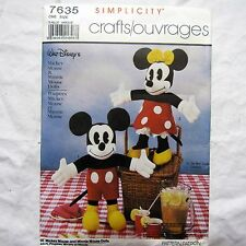 Simplicity Crafts Walt Disney's Clasic Mickey Minnie Mouse Dolls Pattern FF 7635